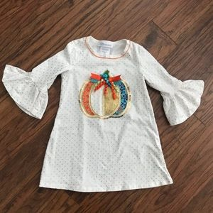 Girls tunic top with Pumpkin embroidery